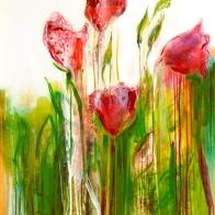 Tulips in Nana's Garden 150 x 100 x 2.5 cm ZAR28,000
